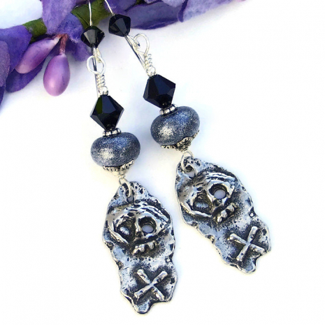 Day of the Dead skull earrings for her.