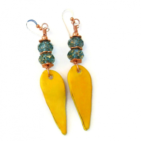 yellow backside of polymer clay teardrop earrings