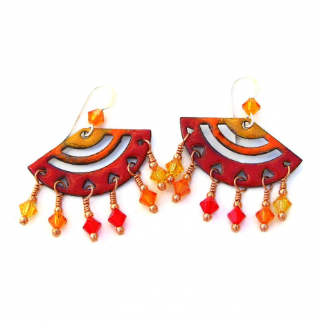 yellow red orange chandelier earrings gift for women