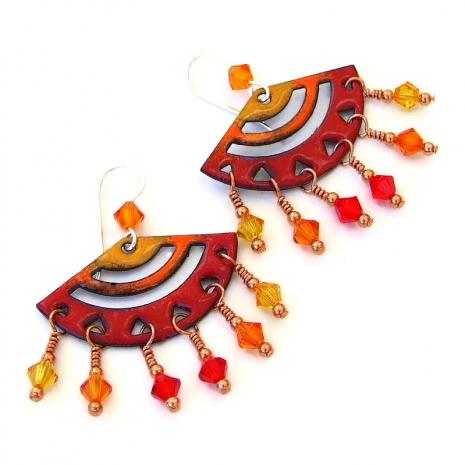 yellow red orange chandelier jewelry gift for women