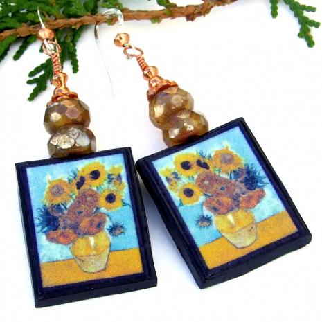 yellow sunflowers blue background art earrings vincent van gogh