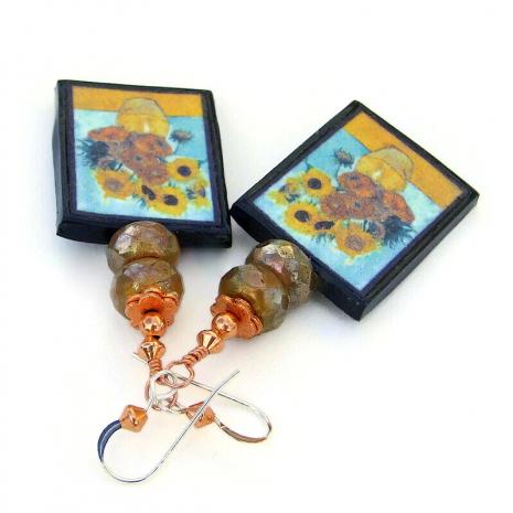 yellow sunflowers van gogh painting jewelry