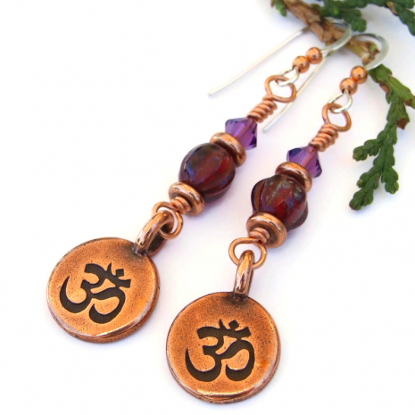 yoga chakra earrings copper red violet