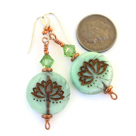 yoga earrings glass lotus flowers