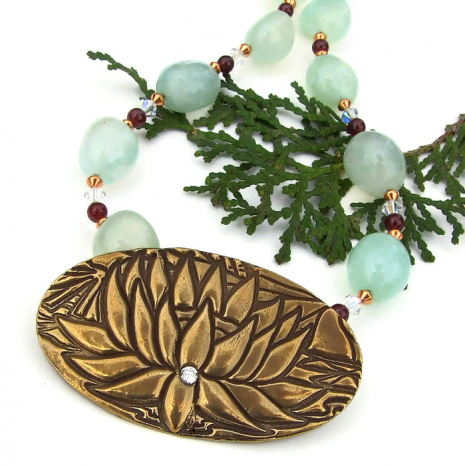 yoga lotus blossom green chalcedony and red garnet handmade necklace