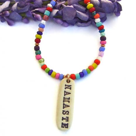 yogas necklace with namaste pendant gift for women