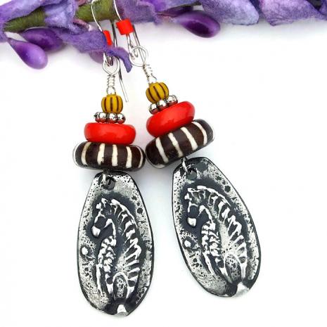 handmade zebra earrings tribal gift for women