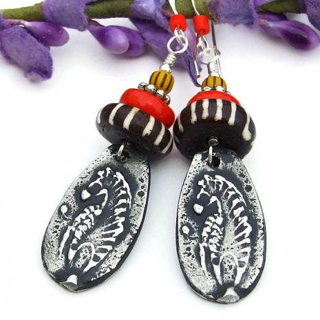zebra and african batik bone jewelry