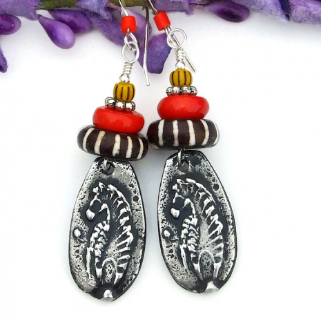 tribal ethnic earrings for women with zebras