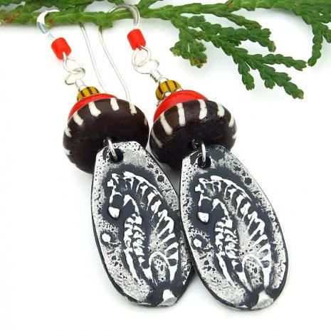 zebra and african batik bone earrings