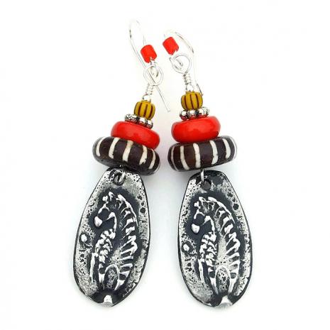 Boho zebra earrings tribal jewelry gift