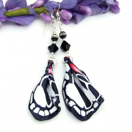 zebra swallowtail wings earrings with Swarovski crystals