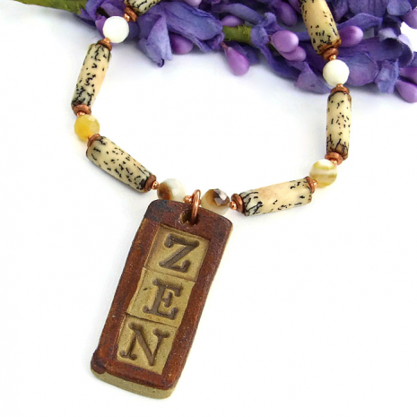 handmade zen pendant necklace, yoga jewelry