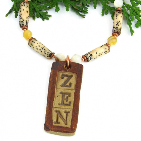 zen yoga necklace jewelry gift for women