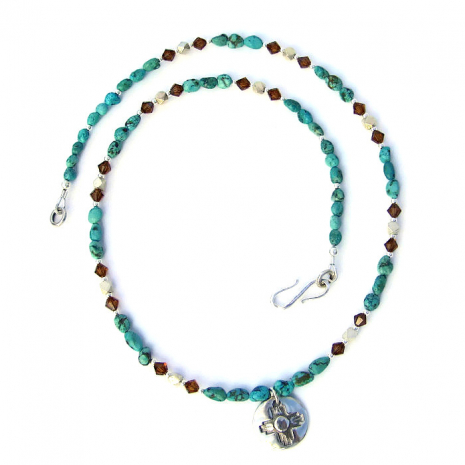 Zia pendant and turquoise necklace.