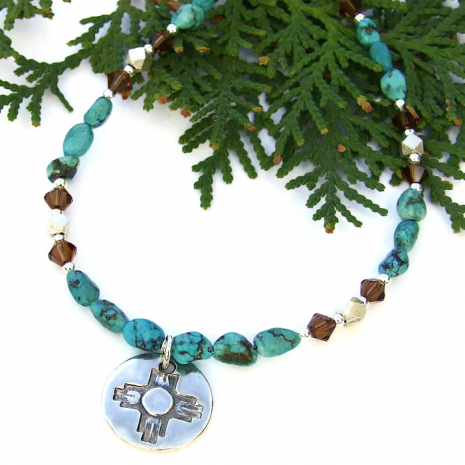 Zia necklace with turquoise, fine silver and Swarovski crystals.