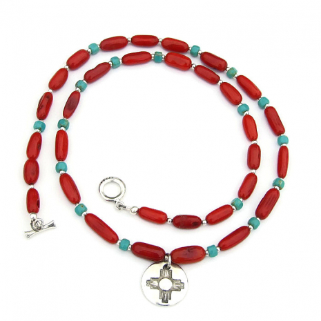 zia sun pendant and red coral jewelry