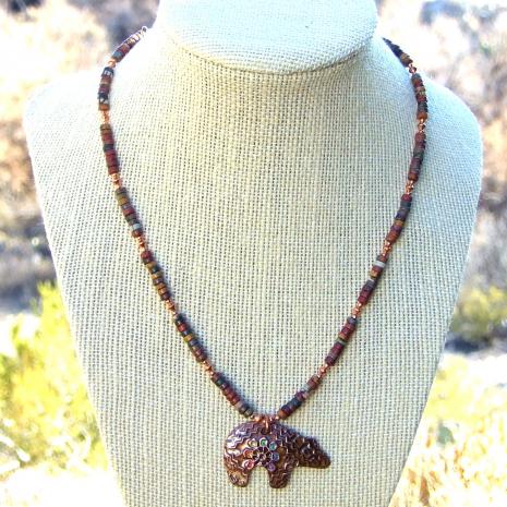 zuni chakra rainbow bear pendant necklace with gemstones