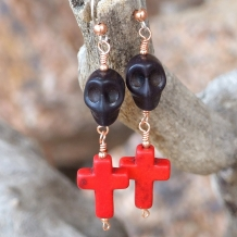 Spooky black skulls and red crosses Halloween / Day of the Dead earrings.