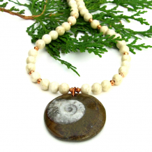 ammonite and riverstone necklace gift for women