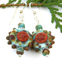 aqua brown orange dog lampwork earrings