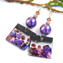 artisan enamel earrings in purple and pink