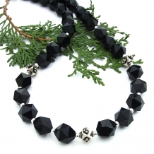 Star cut black onyx and sterling silver necklace.