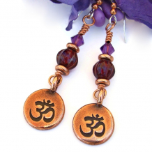aum om chakra yoga earrings copper red violet