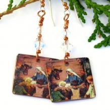 baby jesus mary joseph religious christmas earrings jewelry