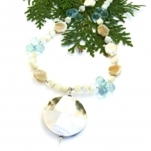 One of a kind mother of pearl and blue quartz beach necklace.