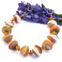 shiva shell necklace with coral and sterling chain