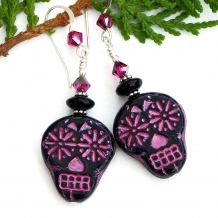 Unique black and pink sugar skulls handmade Day of the Dead earrings.