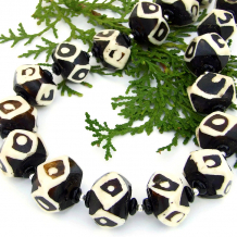 black and white vintage african batik bone bead jewelry