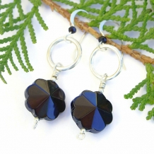 Black onyx flower artisan earrings with sterling silver and pewter