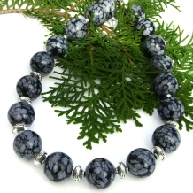 Chunky Snowflake Obsidian Handmade Necklace, Pewter, Sterling, Artisan Jewelry