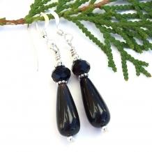 Stylish handmade black onyx teardrop, Czech glass and sterling earrings.