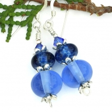 Blue earrings.