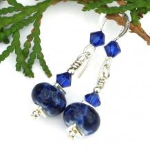 blue and silver lampwork and crystal earrings for women