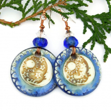 blue brown white sun stars moon artisan earrings
