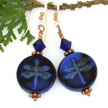 blue dragonfly dangle earrings with indigo swarovski crystals and copper