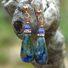 Blue earrings.