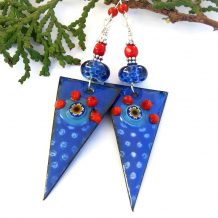 blue enamel lampwork red coral spike earrings gift