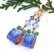 blue flowers earrings fashion jewelry gift for women