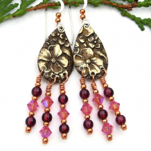 bobo flowers pink crystal red garnet chandelier earrings
