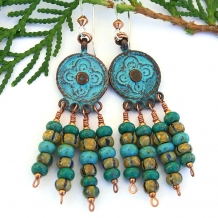 One of a kind boho chandelier earrings with patina Mykonos charms.