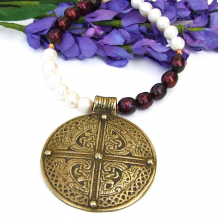 brass celtic cross pendant and pearls necklace
