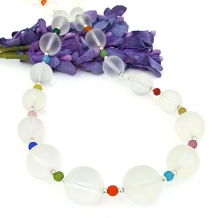 Frosted quartz gemstone necklace.