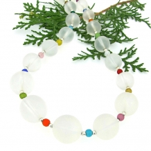 White frosted quartz and multi colored Czech glass necklace.