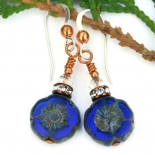 Cobalt blue flower earrings