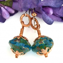 Aqua teal blue handmade earrings.